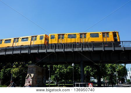 The Berlin U-bahn Metro Railway In Berlin.