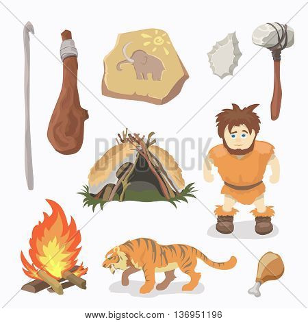 Stone Age icons Primitive man. Cavemen. Neanderthals. Homo sapiens. Evolution. Hunting. Vector