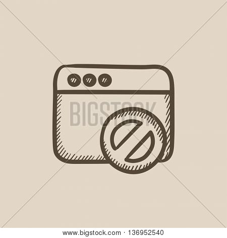 Browser window with no sign vector sketch icon isolated on background. Hand drawn Browser window with no sign icon. Browser window with no sign sketch icon for infographic, website or app.