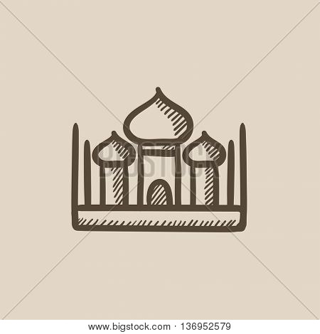 Mosque vector sketch icon isolated on background. Hand drawn Mosque icon. Mosque sketch icon for infographic, website or app.