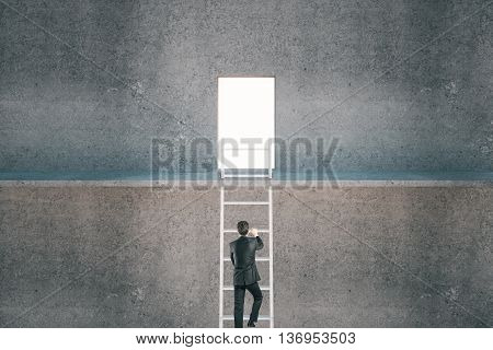 Businessman climbing ladder to escape from prison on concrete background. Freedom concept