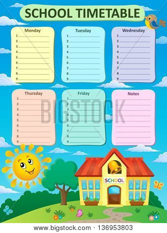 Weekly school timetable theme 2 - eps10 vector illustration.