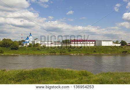 Pokrovsky Monastery on the bank of the river Tura. Verkhoturye. Russia.