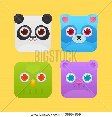 Cute Square Animals Icons For Games