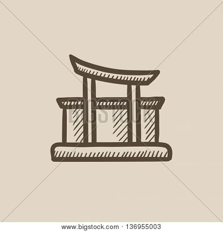 Torii gate vector sketch icon isolated on background. Hand drawn Torii gate icon. Torii gate sketch icon for infographic, website or app.