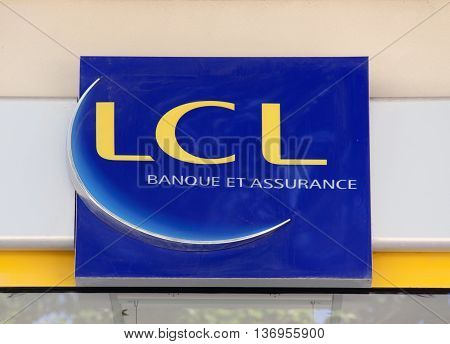 Paris France-June 20 2016: sign of the LCL bank in Paris France