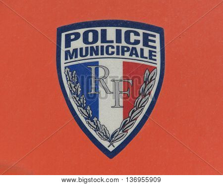 Paris France-June 20 2016: sign of the french police municipale