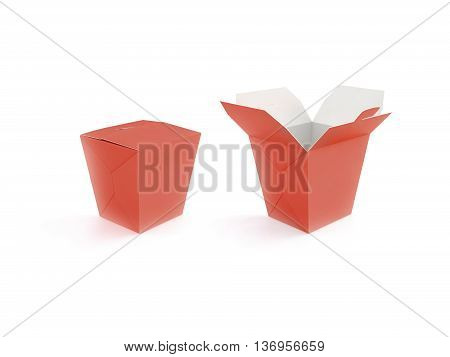 Opened and closed red blank fast food box mockup stand isolated 3d rendering. Empty clear noodle carton box mock up. Take away chicken paper bag template. Meal container fries packaging. Nuggets wok