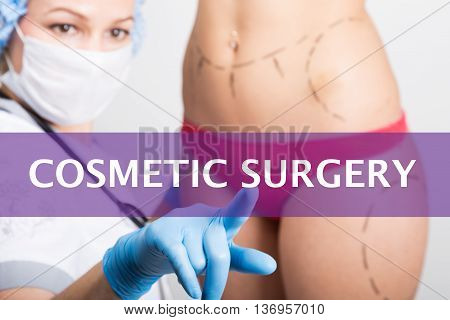 cosmetic surgery written on a virtual screen. Internet technologies in medicine concept. medical doctor presses a finger on a virtual screen. cosmetic surgery, lifting and breast augmentation.