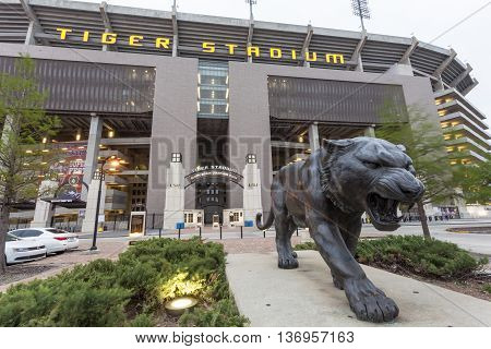 BATON ROUGE USA - APR 15 2016: The Tiger Stadium of Louisiana State University in Baton Rouge. Louisiana United States