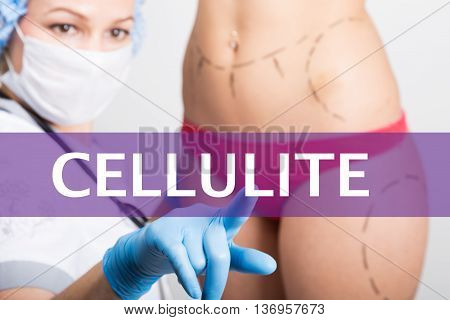 cellulite written on a virtual screen. Internet technologies in medicine concept. medical doctor presses a finger on a virtual screen. cosmetic surgery, lifting and breast augmentation.