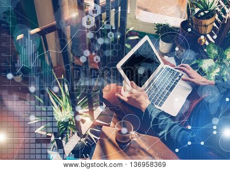Man Typing Laptop Hand.Account Manager Researching Process.Business Team Working Startup modern Loft Studio.New Global Strategy Virtual Icon.Innovation Graphs Interface.Analyze market stock Blurred