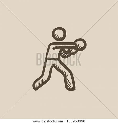 Male boxer vector sketch icon isolated on background. Hand drawn Male boxer icon. Male boxer sketch icon for infographic, website or app.