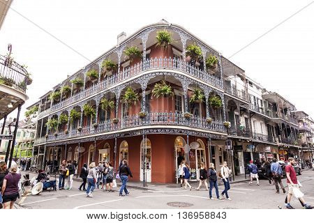 NEW ORLEANS USA - APR 16 2016: Traditional architecture in the French Quarter of New Orleans. Louisiana United States