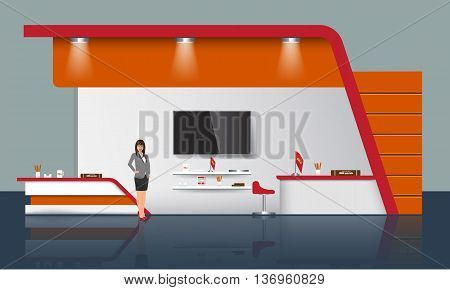 Unique creative exhibition stand display design with table tv light beam info board logo and some promotion objects. Realistic Trade Booth template mock up. Corporate identity design elements. vector
