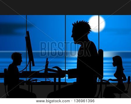 Working Late Indicates Workplace Office And Night