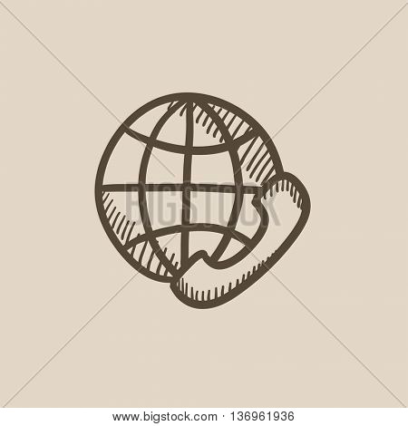 Global communications vector sketch icon isolated on background. Hand drawn Global communications icon. Global communications sketch icon for infographic, website or app.