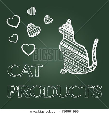 Cat Products Means Purchases Buy And Shopping
