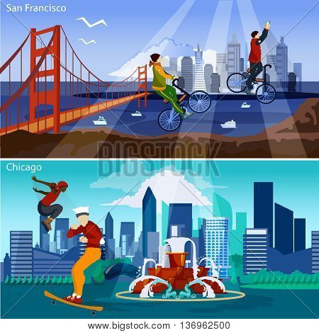 American Cities Flat Concept. USA Sights And People Compositions Set. US Cityscapes Vector Illustration. America And Cities Isolated Set.