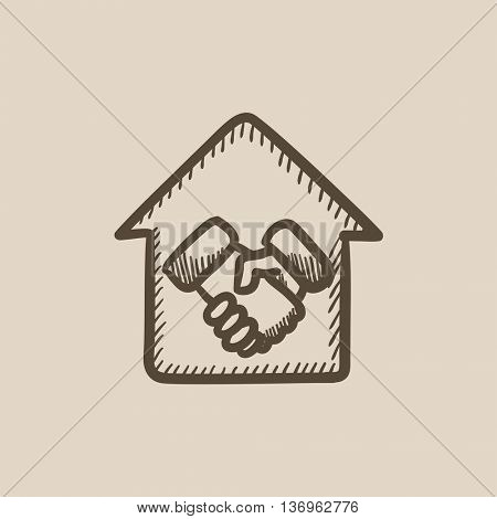 Handshake and house vector sketch icon isolated on background. Hand drawn Handshake and house icon. Handshake and house sketch icon for infographic, website or app.