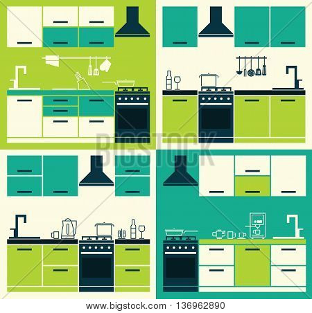 Modern Kitchen Interior. Vector Kitchen Cabinets. Vector Illustration of Modern Kitchen Cabinets and Household Equipment in Line Style. Banner or Flyer with Kitchen Cabinets.