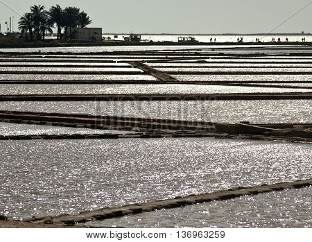 Salt evaporation ponds in Stagnone lagoon, Marsala, Sicily