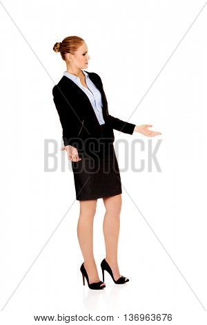 Angry business woman talking with someone