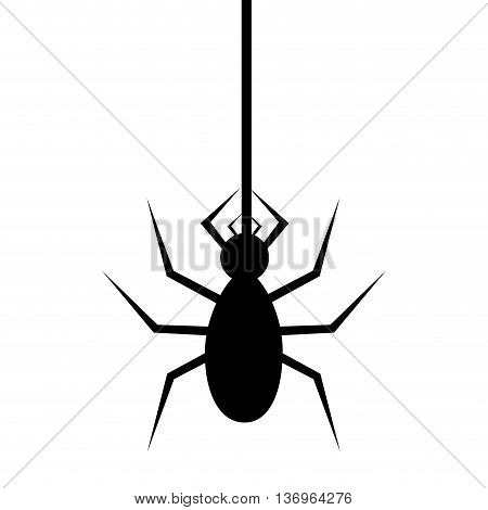 Spyder in cobweb silhouette icon over white background, vector illustration.