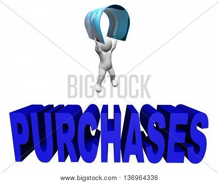 Credit Card Purchases Indicates E-commerce And Shopping 3D Rendering