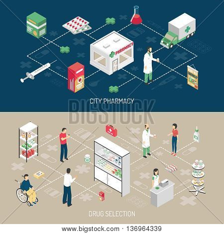 Pharmacy 2 horizontal isometric banners with druggist attending handicapped customer with infographic flowchart elements isolated vector illustration