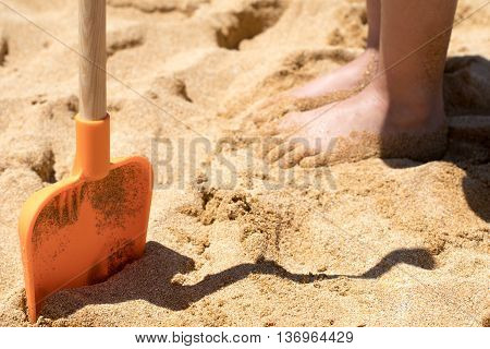 Holiday Beach fun sandy spade on sunny beach