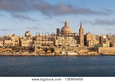 View from Tigne Point across the harbour to Valletta just before before sunset.