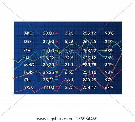 Stock market in numbers and statistics table, vector illustration.
