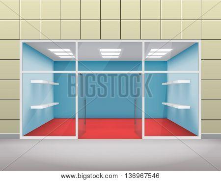 Empty shop front boutique window open door 3d template vector illustration
