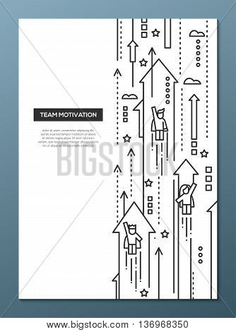 Business Team - vector line design brochure poster, flyer presentation template, A4 size layout. Successful people moving forward on arrows