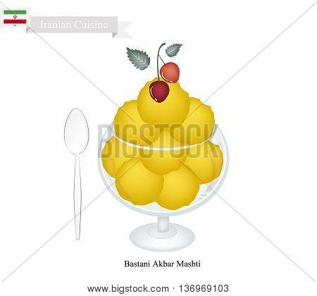 Iranian Cuisine Bastani Akbar Mashti or Traditional Persian Ice Cream Made From Milk Eggs Sugar Rose Water and Saffron. One of The Most Popular Dessert in Iran.