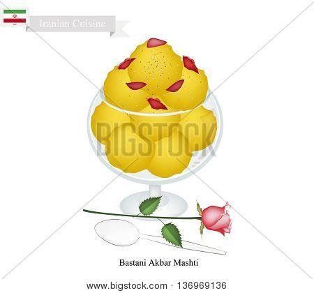 Iranian Cuisine Bastani Akbar Mashti or Traditional Ice Cream Made From Milk Eggs Sugar Rose Water and Saffron. One of The Most Famous Dessert in Iran.