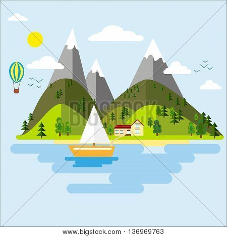 Peak season mountains and green valley. Sky forest rock travel view mountain background. Vector mountains green valley boat lake landscape background. Summer tourism river scenic.