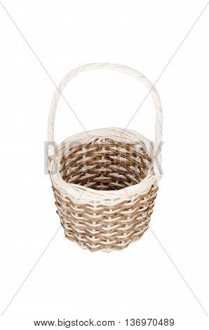 handcrafted woven wicker baskets isolated on white background