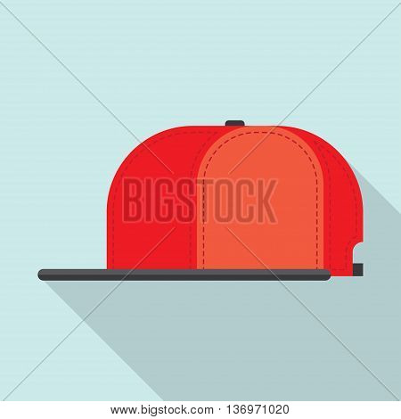 Rap cap template, vector illustration. Flat bill baseball cap.