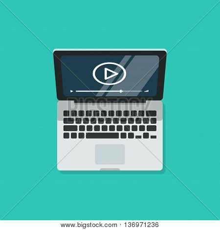 Laptop with video player and screen isolated on blue background, technology object, computer video streaming flat design, video tutorial icon