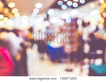 Blurred Background : Customer At Restaurant Blur Background With Bokeh,vintage Filter
