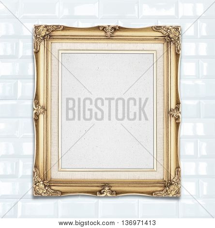 Blank Gold Color Vintage Photo Frame Hanging On White Ceramic Tile Wall,template For Adding Your Pho