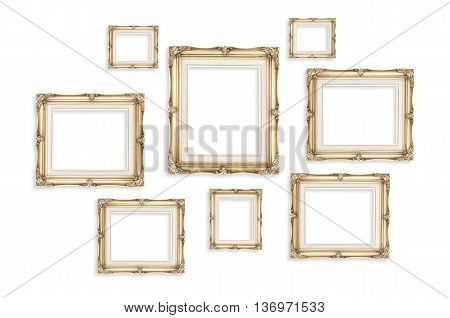 Vintage Photo Frames Isolated On White Background,template Mock Up For Adding Your Picture