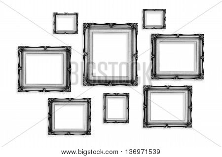 Black Vintage Photo Frames Isolated On White Background,template Mock Up For Adding Your Picture