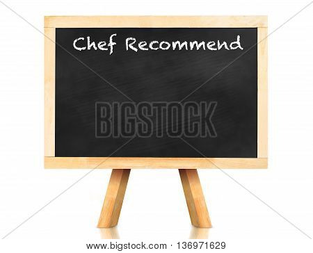 Recommend Word On Blackboard With Easel And Reflection On White Background,template Mock Up For Addi