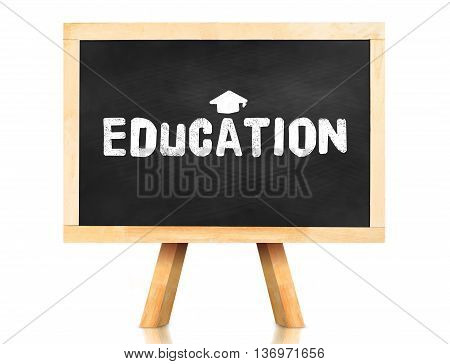Education Word And Graduation Cap Icon On Blackboard With Easel And Reflection On White Background,b