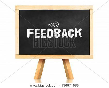 Feed Back Word And Emotion Icon On Blackboard With Easel And Reflection On White Background,business