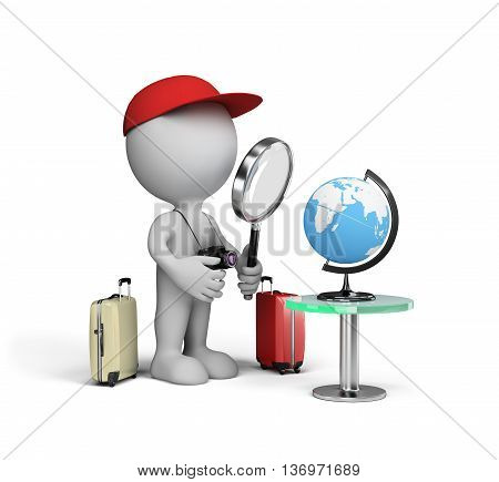 Man chooses a resting place on the globe. 3d image. White background.