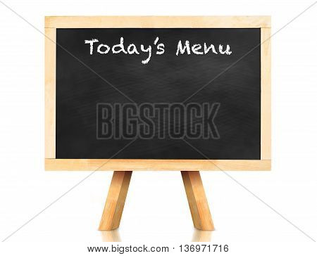 Today's Menu Word On Blackboard With Easel And Reflection On White Background,template Mock Up For A